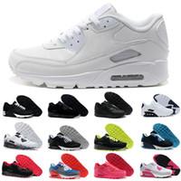 cojines rojos blancos negros al por mayor-Nike Air Max 90 Airmax 90 hombres mujeres Zapatillas de running Triple Negro blanco CNY oreo azul Ultraboost Primeknit Zapatillas de deporte SZ5-11