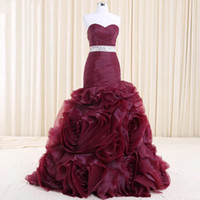 Wholesale High End Prom Gowns - Real Photo Burgundy Plum Tiered Handmade Prom Dress Formal Mermaid vestido de noiva High End Bridal Eveing Dress Red Carpet Maxi Gowns