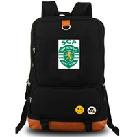 Wholesale team soccer bags for sale - Lisbon backpack Sporting Clube de Portugal daypack SCP Football club schoolbag Soccer team rucksack Canvas school bag Outdoor day pack
