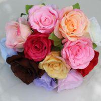 ingrosso rose colorate-Fiori artificiali Bouquet di rose in seta Home Decorazione di nozze Confezione da 50 pezzi 24 colori Seleziona HB-032