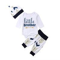 säuglingshüte für jungen großhandel-Neugeborenes Baby Jungen Bruder Set Kleidung 3 stücke Langarm Brief Body Print Hosen Hut Infant Niedlich Outfits Herbst Mode 2018