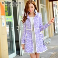 Wholesale original fur coat - original 2017 winter jacket fashion stand collar slim new warm light purple printed woolen coat women