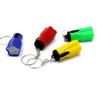 вешалка для цветов оптовых-Мини-пластиковые Flsahlights брелок цветок форма Факел спорта на открытом воздухе кемпинг полезные Tazer может повесить на карманный мешок много цветов 0 35ch ZZ