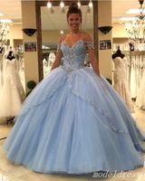 vestido de princesa cielo al por mayor-2019 Princess Princess Sky Blue Quinceanera Vestidos Spaghetti Sweep Train Major Beading vestidos de quinceañera Vestidos de fiesta de baile para dulces 15