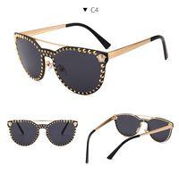 Wholesale medusa glasses - 2018 Fashion Men Women Medusa explosion models Madame cat eye rivet sunglasses high-quality personality sun glasses