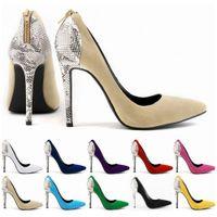 fondos rojos zapatos cremallera al por mayor-Womens Faux Velve tacones altos señaló corsé con cremallera Bottom rojo bombas Patchwork serpiente corte vestido zapatos US4-11 D0248
