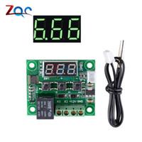 ingrosso interruttore a temperatura controllata 12v-W1209 LED verde Termostato digitale di controllo della temperatura Termometro Modulo interruttore termo regolatore DC 12V Sensore NTC impermeabile