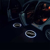luz de sombra de laser de porta de carro venda por atacado-2 Pcs Santo Luz Sombra Bem-vindo Luz Lâmpada Laser Projetor Carro LEVOU Luz de Aviso de Porta para honda para chevrolet