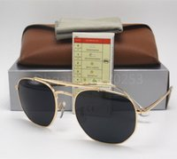 Wholesale golden beam - Mens Womens Double beam Fashion Hexagonal Metal Sunglasses Irregular Personality Sun Glasses Silver Mirror 54MM Glass Lenses With Brown Box