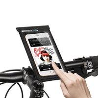 водонепроницаемый держатель телефона для велосипеда оптовых-Велосипед сумка с сенсорным экраном велосипед передний Руль сумки mtb 6 дюймов мобильный телефон кронштейн езда на велосипеде стенд Водонепроницаемый держатель телефона