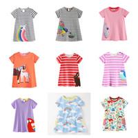 kız elbiseler hayvanlar toptan satış-Bebek Kız A-line Elbiseler 100% Pamuk Çizgili Gökkuşağı Uçak Dinozor Flora Hayvan Kuş At Baskılı Aplike Kısa Kollu Etek 1-6 T