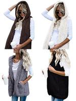 Wholesale Women S Fur Hoods - 2018 Women Winter Sherpa Vest Warm Hooded Waistcoat Outwear Casual Fashion Sleeveless Fur Zip Up Jacket for Girls Ladies