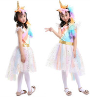 kız çocuklar altın elbiseler toptan satış-Çocuklar Cosplay Giyim Bebek kız Unicorn Gökkuşağı elbise çocuk dantel Tutu prenses elbise Takım Elbise 1 ile Unicorn Kafa + 1 Altın Kanatları