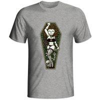yeni pin ups toptan satış-Yeni 2018 Moda Yaz Zombi Tabut Pin-up Kız T-shirt Tasarım Moda Komik O-Boyun Pamuk T Gömlek
