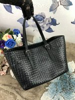 Wholesale blue bag sheep - 2018 women handmade material crochet handbag classic genuine sheep skin leather handbag casual tote big size simple kintting bag vb 33cm new