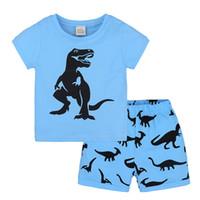 Wholesale 18 24 months costume - Boys Clothing Sets Summer Kids Cotton Blue T-shirt+Shorts Suit Baby Boy Clothes Sets Infants Costume 2pcs