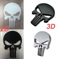 Wholesale black metal car sticker online - The Punisher Skull Car Motorcycle D Metal Emblem Badge Sticker Decals Black Silver Color