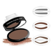 kit de forma de ceja al por mayor-9 Color Quick Brow Stamp Maquillaje en polvo de cejas Paleta de sellado Kit de plantillas de cejas naturales Herramienta 3 formas