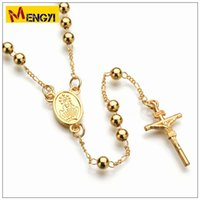 Wholesale 18k gold rosary - JESUS Christ cross rosary beads necklace DIY HIPHOP HIPHOP necklace, European and American fashion original for couple as valentines gift