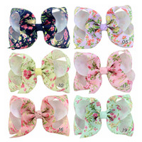 Wholesale hair bow weave resale online - 4 inch bows children hairpin hair accessories printed kids print bow hand woven ribbon headdress Girl hairpin Lady head flower
