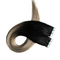Wholesale applying hair resale online - Apply Tape Adhesive Skin Weft Hair Ombre Tape In Human Hair Extensions Silver Grey Hair Extensions Blonde Tape Extensions