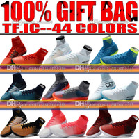 Wholesale Tf Shoes - Original New Indoor Soccer Shoes MercurialX Proximo II TF IC Football Boots High Top Mercurial Superfly CR7 Indoor Soccer Cleats Turf Neymar