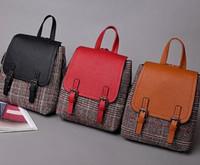 Wholesale Han Bags - Winter leisure, wind small backpack Han retro color woolen Plaid women bags