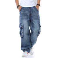 çok pantolon pantolon kot toptan satış-Erkekler için Artı Boyutu Kot Büyük Çok Cepler Uzun Pantolon Gevşek Casual Denim Mavi Jean Pantolon