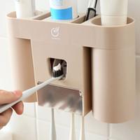 diş fırçası diş macunu fincanları toptan satış-Dağıtıcı krem diş otomatiği Bardaklar diş fırçası tutucu ile banyo macunu için diş macunu seti 4 renk seçimi