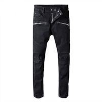 ingrosso denim cowboy-Designer Hole Men balmain Jeans classici jeans dritti lavaggio Cowboy Slim pantaloni denim Pantaloni skinny Casual Uomo strappato Jeans da moto Jean