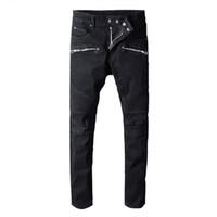 vaquero vaquero al por mayor-Diseñador Agujero Hombres balmain Jeans Clásico Vaqueros rectos Lavar Vaquero Pantalones de mezclilla delgados Pantalones pitillo Casual para hombre Ripped Jean Moto Jeans