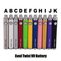 baterías ego evod vv al por mayor-EVOD EGO C Twist Voltaje variable VV Ego-C Batería E cigarrillo 650 900 1100mAh Batería para 510 Thread CE4 Nautilus Mini Protank Atomizers
