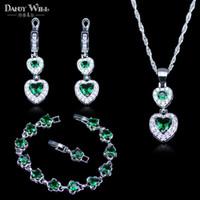 ingrosso rhinestone del pendente del cuore verde-Cuore quadrato 925 logo verde strass bianco cristallo colore argento insieme dei monili per le donne bracciali / collana / orecchini / pendente