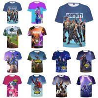 Wholesale kids brand tshirt - Fortnite T shirts 17 Designs Big Kids Student Mens 3D Print Fortnite Cotton Short Sleeved Breathable Tshirt Mens T shirt LA787