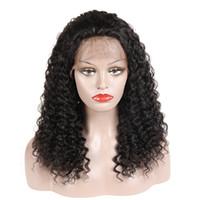 insan saçı dantel ön moğol toptan satış-Siyah Kadınlar İçin Bebek Saç Brezilyalı Malezya Peru Hint Moğol Kıvırcık Bakire Saç Peruk ile Kinky Kıvırcık İnsan Saç Dantel Açık Peruk