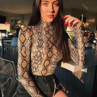 entrepierna abierta del cuerpo al por mayor-Body pitillo de cuello alto estampado de piel de serpiente Mujeres 2018 Otoño Invierno Bodycon de manga larga entrepierna abierta Body transparente