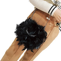 Wholesale evening dresses ostrich feathers for sale - Group buy 2018 New Women s Evening Bag Fashion Cross Body Round Ring Ostrich Feather Fur Shoulder Chain Bag Casual Solid Party Hasp Packs