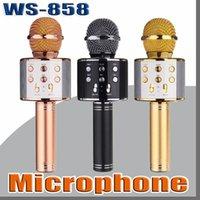 iphone tischten großhandel-WS-858 Mikrofon Drahtloser Lautsprecher Tragbarer Karaoke Hifi Bluetooth Player WS858 Für iphone 6 6s 7 ipad Samsung Tablets PC besser als Q7 Q9