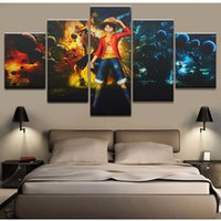 un pedazo de pintura al por mayor-Canvas Fashion HD Prints Modular Painting 5 Piezas One Piece Animation Modern Wall Art Decor Imagen Cheap Framework Poster