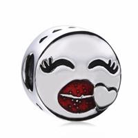 pulsera de labios rojos al por mayor-Nuevo Auténtico 925 Grano de Plata Esterlina Labios Esmalte Rojo Sonrisa Cara Amor Corazón Fit Pandora Original Pulseras Joyería de Los Encantos DIY