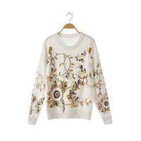 suéteres de flores para mujer al por mayor-Alta Calidad 2019 Otoño Suéter de Las Mujeres de Manga Completa O-cuello Bordado de la Hoja de Oro Moda Para Mujer Suéter Suéteres de Punto Suéter Tops