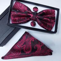 100% silk men bowtie Pocket Square bow tie and handkerchief set hanky with cufflink tie box set