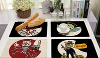 Wholesale modern skull - Cartoon Skull Placemat Cotton Fabric Table Mat Dishware Coaster For Kitchen Accessories Mat Pad Cloth Table Mats