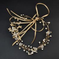 handgewebte perlen großhandel-Neue Mode Bräute Haare mit handgewebten Perlenbohrer Headwear Hochzeit Foto Zubehör