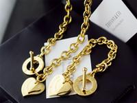 silicone de platine de qualité achat en gros de-Haute qualité conception de célébrités lettre 925 bracelet en argent Collier argenterie mode en forme de coeur bijoux en or ensemble 2pc
