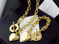 Wholesale sapphire copper earrings online - High Quality Celebrity design Letter Silver bracelet necklace Silverware Fashion Metal Heart shaped Gold Jewelery Set pc With Box