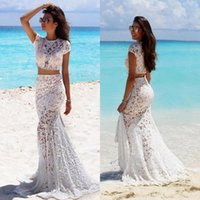 Wholesale two piece lace beach wedding dresses resale online - Simple Beach Two Pieces Wedding Dresses with Short Sleeves Sexy Sheer Lace Floor Length Bohemian Bridal Gowns