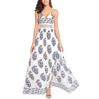 tatil elbiseleri toptan satış-BOFUTE Yeni Avrupa Amerikan kadın Sling Şifon Elbise Bohemian Tatil Elbiseler B1552