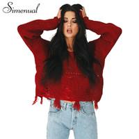 suéter de manga larga arranca al por mayor-Simenual Fringe ripped casual knit sweater pullover mujer vintage slim manga larga mujer suéteres jumpers prendas de punto ropa caliente
