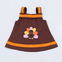 Wholesale Dresses Turkey Wholesalers - Thanksgiving Light Brown A-Line Dress Romper Baby Girls 2017 Autu'm'n Style Tutu Clothing for Newborn Toddler Dress with Turkey